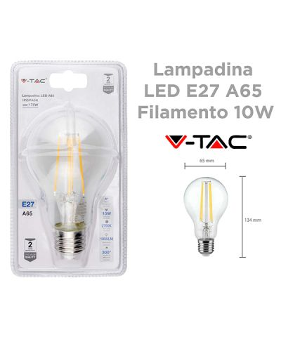 LAMPADA FILOLED GOCCIA 10 WATT 1055 lm E27 LUCE CALDA - 2700K