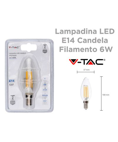 LAMPADA FILOLED CANDELA 6 WATT 600 lm E14 LUCE CALDA - 2700K