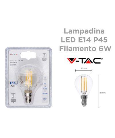 LAMPADA FILOLED SFERA 6 WATT 600 lm E14 LUCE CALDA - 2700K