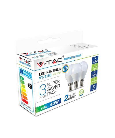LAMPADA LED SFERA x 3 P.ZI 5,5 WATT 470 lm E14